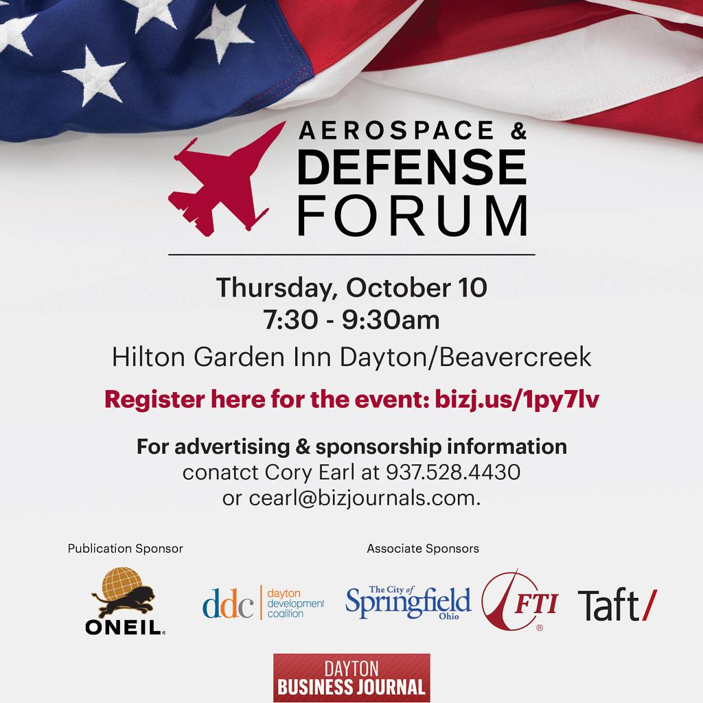 ONEIL is the publication sponsor for the Dayton Business Journal's 2019 Aerospace & Defense Forum in Beavercreek, Ohio.
