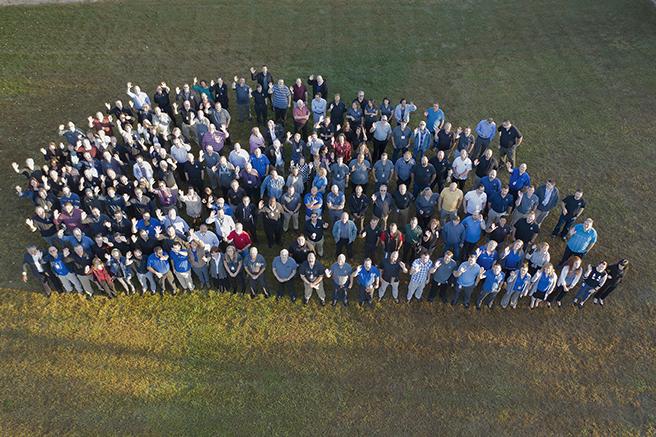 An aerial photo of ONEIL team members.